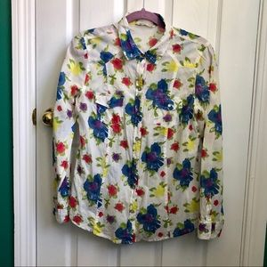 Flowered print button down shirt %100 cotton M